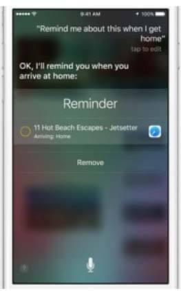 Siri smart reminders in iOS9
