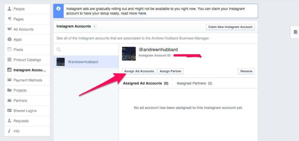 Assign Facebook Ad Account