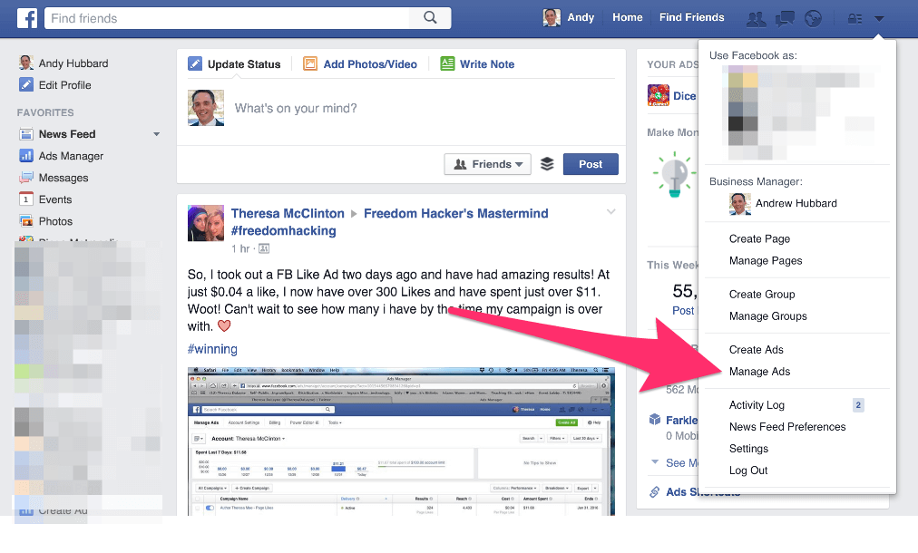 Facebook Manage Ads Link