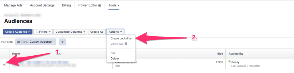 Facebook lookalike audiences - buy app installs